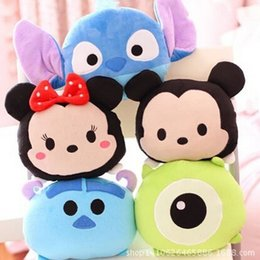 Wholesale Pillow Toy Stitch - Wholesale- 1pc 21cm Cartoon Plush Car Pillow Mickey and Minnie Mouse, Moster, Stitch Plush Toy Creative Plush Nap Pillow Free Shipping