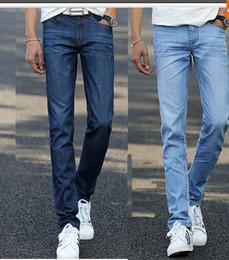 Wholesale Men Jean Trousers - Wholesale-jeans men 2016 summer jean new men jeans straight leg denim silk cotton trousers men's pants thin pantalones size 38 36 34
