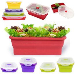 Wholesale Lunch Box Containers Wholesale - 350ml 2017 New Silicone Collapsible Portable Bento Box Bowl Lunch Bento Boxes Folding storage Food Container Lunchbox Eco-Friendly in stock