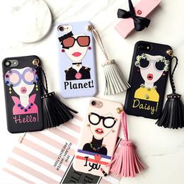 Wholesale Cartoon Girls Phone Case - For iphone 7 plus Fashion Girl Soft TPU Case Cartoon Tassel Accesories Rivets Phone Case For iphone 6 6s plus With Retailpackage