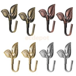 Wholesale Wholesale Curtain Holders - 2Pcs Leaf Curtain Drapery Tiebacks Door Wall Hat Hooks Holder Hanger Home Decor