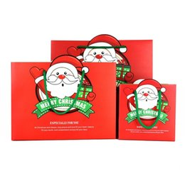 cartoon gift paper Promo Codes - Cartoon Red Portable Bag Fashion Santa Claus Pattern Gift Packing Bags Square Easy To Carry Shopping Bags 1 5hj3a B
