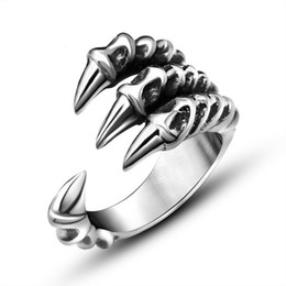 Wholesale stainless wedding rings - Punk Rock 316L Stainless Steel Mens Biker Rings Vintage Gothic Jewelry Silver Color Dragon Claw Ring Men