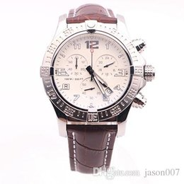 Wholesale Dhgate Dresses - DHgate selected supplier luxury brand watches man seawolf chrono white dial brown leather belt watch quartz battery watch mens dress watch