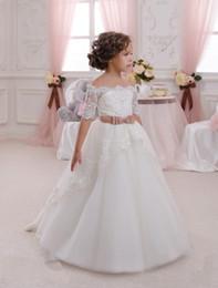 Wholesale Pretty Long Dresses For Kids - 2016 Pretty Scoop Top Crepe Tulle Bottom Sash Rolling Flower Girls Dresses White Princess Kids Dresses For Wedding