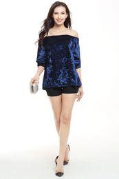 Wholesale Velvet Fashion Blouse - 2017 Wholesale Fashion Women Sexy Velvet Navy Blue Off Shoulder Short Sleeve Loose Strapless Plain Summer Casual Tops Blouse & Shirts