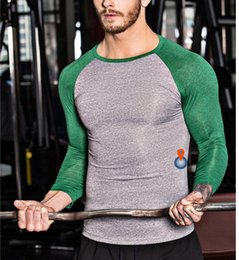 Wholesale Bodybuilding T Shirts Mens - 2017 New Arrival Men Fitness Shirt Bodybuilding Tracksuit T shirt T-shirt for Mens Slimming