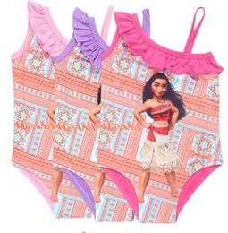 Wholesale Swim Wear 3t Girls - Cartoon Moana Girls Dresses Swimsuits Summer New Baby Kids One Piece Swim Wear Clothing Kids Bathing Suit 3-9Years