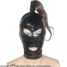 Wholesale Wigs Red Orange - Black Sexy Latex Hoods With Ponytail Tube Without Wigs Zipper Back Open Mouth Eyes Nose Pony Tail Rubber Masks Plus Size TT-0004