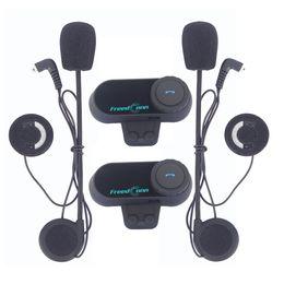 Wholesale Helmet Set - FreedConn 2Pcs Set Motorcycle Bluetooth Helmet Interphone Stereo HandFree Headphone Waterproof 1000m BT Wireless Helmets Intercom Headsets