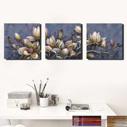 Wholesale Trees Flower Floral Painting - 50*50Cm*3 Wall Decoration Abstract Maple Tree Imaged Flowers Moose Forest Home Living Room Wall Decor Unframed Paintings 3 Panels
