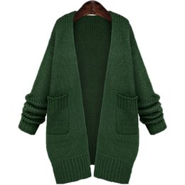 Wholesale Womens Thick Cardigans - Wholesale- Crochet Long Cardigan Women 2016 Fashion New Autumn Winter Womens Warm Sweaters Thick V Neck Pocket Coat Outwear Plus Size C512