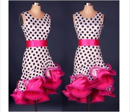 Wholesale Kids Ballroom Dance Costumes - Women Girls Latin Dance Dress 2017 Cha Cha Rumba Samba Ballroom Dancing Dancewear Fitness Clothes Lady Kids Dance Costume FN25