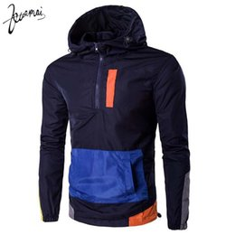 Wholesale Zippers Jackets - Wholesale- KUAMAI Men Jacket Brand Clothing High-Quality Casual Wild Zipper Fashion Personality Multi-Color Long Sleeved Hooded Jacket