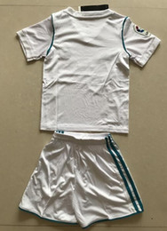 Wholesale Team Socks White - 2017-2018 Soccer Jerseys Team Kids Jersey White Blue Color Youth Uniform Jersey With Shorts And Socks Size 16-28 Mix Order Customs Jersey