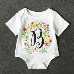 Wholesale B T Shirt - Baby Girls B Garland print Romper T shirt Infants flower letters printed clothing ins hot baby floral clothing for 0-2T