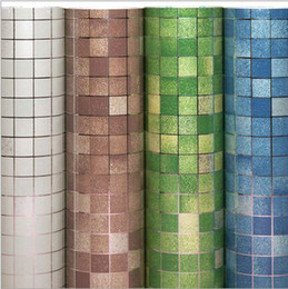 Wholesale self adhesive wallpapers - 45cm X 5m Kitchen mosaic Wallpaper waterproof Self adhesive wall stickers Bathroom decor mosaic Wall sticker Easy Clean