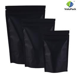 Wholesale Wholesale Black Ziplock Foil Bags - 12x18cm (4.7x7inch) 100pcs barrier heat seal Retail Package bag black aluminum foil ziplock stand up pouches for tea snacks