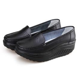 Wholesale White Nurses Shoes - Summer Genuine Leather Women's Shoes Nurse Swing Work Single Shoes Wedges Black white Platform LPP31