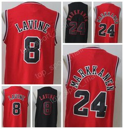 Wholesale New Style Fan - 2017 New Style 8 Zach LaVine Jersey Men Black White Red Basketball 24 Lauri Markkanen Jerseys For Sport Fans All Stitched High Quality