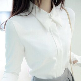 Wholesale Elegant Blouse Woman - Female Fashion Shirt Korean Casual Long Sleeve Cotton Shirt Chiffon Blusas Femininas Women White Black Blouses Elegant Blusa