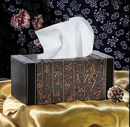 Wholesale Hotel Office Supplies - Wholesale- 071886 new high-grade home furnishing leather tissue box car office hotel supplies creative retro Chinese napkin box