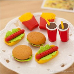Wholesale Chip Office - 3D Hamburgar Chips Coka Cola Cakes Food Erasers creative Eraser 3D Rubber Pencil Eraser Christmas Gift Each One With Opp Bag