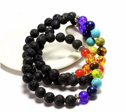 Wholesale Men Black Ceramic Bracelets - Mix 7 Color Bracelets Black Natural Lava 7 Chakra Healing Balance 8 mm Beads Bracelet For Men Women Reiki Prayer Stones