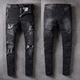 Wholesale Quality Moto - Slim Fit Mens Jeans Distressed Moto Denim Black Biker Jeans Pants With Zip pocket high quality