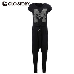 Wholesale Story O - Wholesale- GLO-STORY 2017 Fashional Summer Womens Rompers Jumpsuit Letter Diamonds Solid Bodysuit Sleeveless O-Neck Long Playsuits 2132