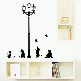 Wholesale Diy Picture Rooms - Black Cat Under Street Lamp Home Stickers Cartoon Design Picture Art Peel & Stick Pvc Wall Stickers DIY Vinyl Wall Decal