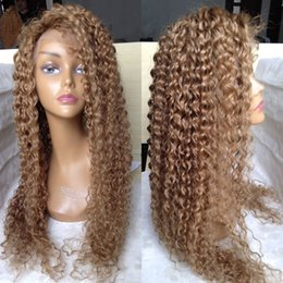 Wholesale Transparent Lace Glueless Wig - Honey Blonde Brazilian Full Lace Human Hair Wigs For Black Women Blonde Kinky Curly Glueless Lace Front Wig With Baby Hair