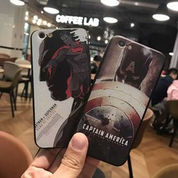 Wholesale Hero Plus Black - For Apple iphone 6 6S 7 plus silicone case Relief Color painting Marvel Comics Super hero TPU transparent cell phone cases Protective shell