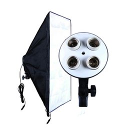 Wholesale photo soft box - Wholesale- Photo Studio Accessories Soft Box 100V-240V 4-Socket Lamp Holder + 50*70CM Light Softbox Photography Lighting Equipment