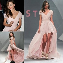 Wholesale Asymmetric Chiffon Prom Dresses - Hot Miranda Kerr V-Neck Prom Dresses Cap Sleeves High Low Asymmetric Party Dress Celebrity Dresses Evening Gowns Ruched Chiffon Red Carpet