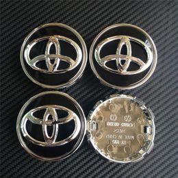 Wholesale Rav4 Cars - DHL 100pcs 63mm high QUALITY chrome black wheel center caps hub cover car badges emblemn for toyota COROLLA RAV4 LEVIN