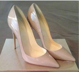 Wholesale Pointy Toe Heels - {Original Box}Classic Women Brand Red Bottom High Heels Patent Leather Pointy Toe Dress Shoes Luxury Shallow Mouth Red Sole Wedding Shoes