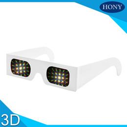 Óculos emoldurados em arco-íris on-line-Atacado-Menor Preço Papel Difração Óculos 13500 Linhas Branco Papelão 2 * 250g Quadro Fogos De Artifício Rainbow Laser Eyewear 100 pçs / lote