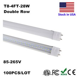 Wholesale T8 Led Tube 4ft 18w - LED Bulbs Tubes 4 Feet FT 4ft LED Tube 18W 22W T8 Fluorescent Light 6500K Cold White Factory Wholesale 28W Double Row LEDs