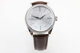 Wholesale Double Dial - 2017 hot luxury luxury brand 18K white gold bezel white dial leather strap arched triangle pits double outer cell cell series 50509 white pl