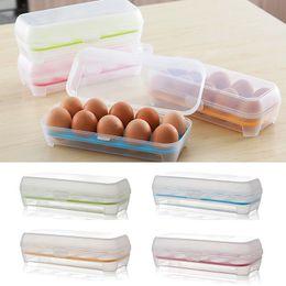 Caixa da caixa do ovo on-line-Limpar Portátil Casa Caixa De Ovo De Plástico De Piquenique 10 Grade Recipiente De Armazenamento Titular Frigorífico Ovos Organizador