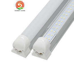 Wholesale Led 4ft Fixtures - 4FT 8FT 28W 72W Integrated Double Row LED T8 Tube light 7200LM SMD2835 1.2m 2.4m led fluorescent lighting fixture