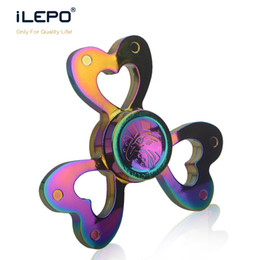 Wholesale Wholesale Home Desks - Full metal Fidget Spinner Colorful Hand Spinners Aluminum alloy EDC Fidget Spinner Heart Style Desk Toy with retail box