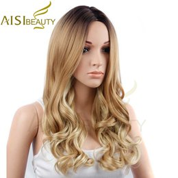 "Wholesale Yellow Long Wigs - Synthetic Hair Wigs AISI BEAUTY 26"" Long Wavy Ombre Yellow Brown Color Synthetic Hair Wigs for Women"