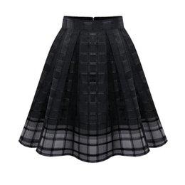 Wholesale Short Pleated Plaid Skirt - wholesale 2017 New Summer Autumn Women Tulle Skirts Fashion High Waist Plaid Mesh Skirt Ladies Tutu Pleated Short Skirt Faldas Saias SF245