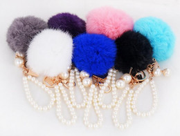 Wholesale Carabiner Keychain Strap - Rabbit Fur Ball Fluffy Keychain Round Ball with Pearl Wrist Strap Pendants Metal Keychain Keyring Car Keychains Purse Charms Handbag Pendant