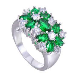 Argentina Verde flor llena de oro blanco anillo Anel mujeres verde estrella CZ 10KT anillos de dedo mujeres joyería de moda Size6-10 Suministro