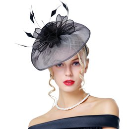 Wholesale Elegant Hats For Wedding - Retro Ladies Black Feather Fascinator Church Hats For Prom Party Wedding 2018 New Elegant Kentucky Derby Hats