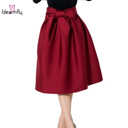 Wholesale womens tutu black - Autumn Winter Red Black Skirts Womens Midi High Waist Female Pleated Organza Bow Tie Tutu Maxi Skirt For Elegant Office Lady