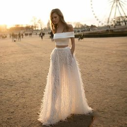 Wholesale Bateau Neck Feathered Prom Dress - 2 Pieces Feathers Evening Dress With Sleeves Special Occasion Formal Gowns A Line Evening Dresses Off Shoulder Robe De Soiree